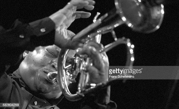 Hugh Masekela, trumpet, performs at the Paradiso on May 30th 2001 in Amsterdam, Netherlands.
