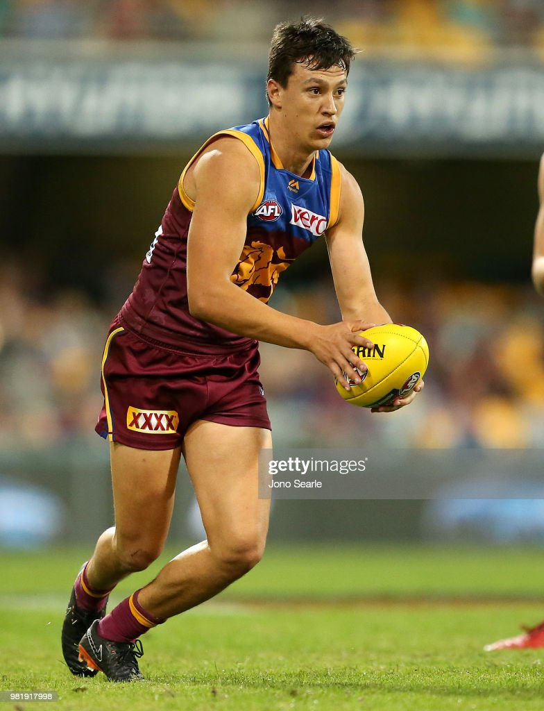 Hugh McCluggage of the Lions runs with the ball during the round 14 AFL match between the Brisbane Lions and the Greater Western Sydney Giants at The Gabba on June 23, 2018 in Brisbane, Australia.