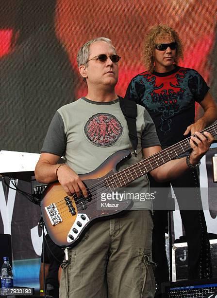 Hugh McDonald and David Bryan of Bon Jovi during LIVE 8 Philadelphia Show at Philadelphia Museum of Art in Philadelphia Pennsylvania United States