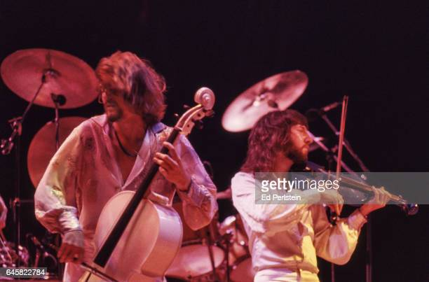Hugh McDowell and Mik Kaminsky of Electric Light Orchestra perform live at the Oakland Coliseum in Oakland California on August 23 1978