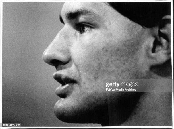Hugh McGahan Easts Captain at Sydney Football Stadium Gym April 20 1989