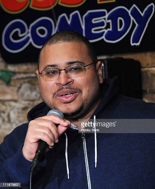 Hugh Moore performs at The Stress Factory Comedy Club on April 7, 2011 in New Brunswick, New Jersey.