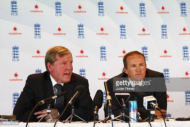 Hugh Morris Managing Director of the England and Wales Cricket Board introduces Andy Flower the new Director of Cricket for the England and Wales...