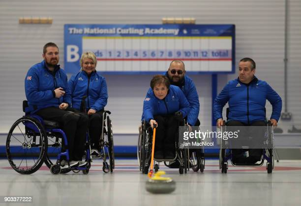 Hugh Nibloe Angie Malone Aileen Nelson Gregor Ewan Robert McPherson and Angie Malone are seen at announcement of the ParalympicsGB Wheelchair Curling...