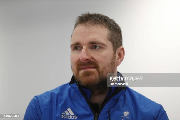 Hugh Nibloe is photographed at announcement of the ParalympicsGB Wheelchair Curling Team at The National Curling Centre on January 10 2018 in...