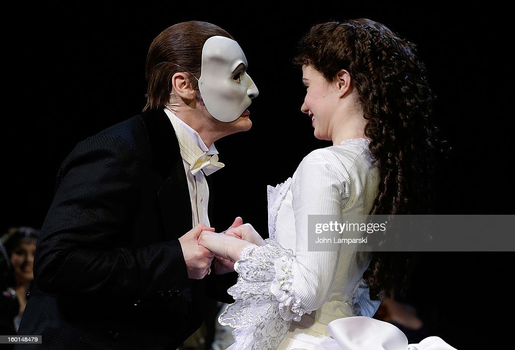 Hugh Panaro and Sierra Boggess perform at 'The Phantom Of The Opera' Broadway 25th Anniversary at Majestic Theatre on January 26, 2013 in New York City.