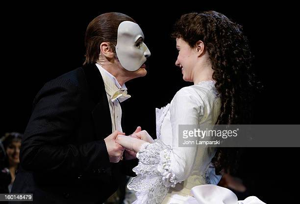 """Hugh Panaro and Sierra Boggess perform at """"The Phantom Of The Opera"""" Broadway 25th Anniversary at Majestic Theatre on January 26, 2013 in New York..."""
