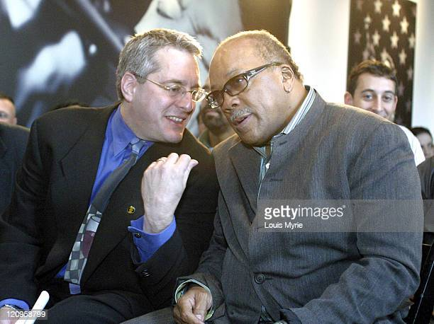 Hugh Panero XM Radio President and CEO shares a moment with Quincy Jones XM Radio Investor during press conference