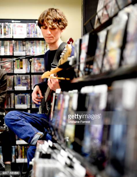 Hugh Schulte of Gengahr during an instore signing and performance at Fopp on March 10 2018 in Manchester England