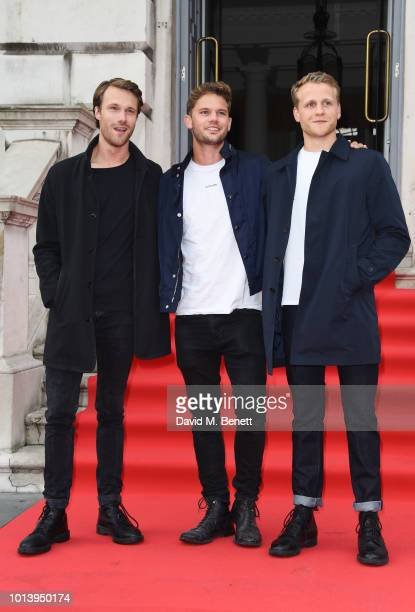 Hugh Skinner Jeremy Irvine and Josh Dylan walk the red carpet at Somerset House to celebrate the opening of Film4 Summer Screen at Somerset House on...
