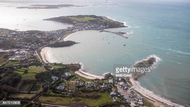 Hugh Town on St Mary's on the Isles of Scilly is seen from the air on February 23 2017 in Cornwall England The temperate Isles of Scilly with a...