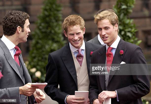 Hugh Van Cutsem Talks To Prince William Prince Harry Attend The Wedding Of Lady Tamara Katherine Grosvenor Edward Van Cutsem At Chester Cathedral