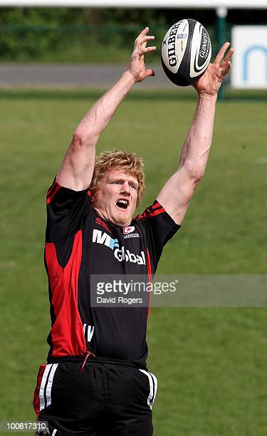 Hugh Vyvyan catches the ball during the Saracens training session on May 25 2010 in St Albans England