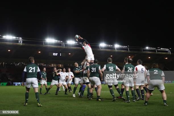 Hugh Vyvyan of England Legends wins a line out during the Rugby Union charity match between England Legends and Ireland Legends at the Twickenham...