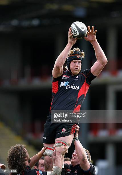 Hugh Vyvyan of Saracens catches the ball during the Guinness Premiership match between Saracens and Newcastle Falcons at Vicarage Road on March 28...
