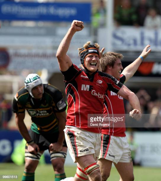Hugh Vyvyan of Saracens celebrates with team mates after their win in the Guinness Premiership semi final match between Northampton Saints and...