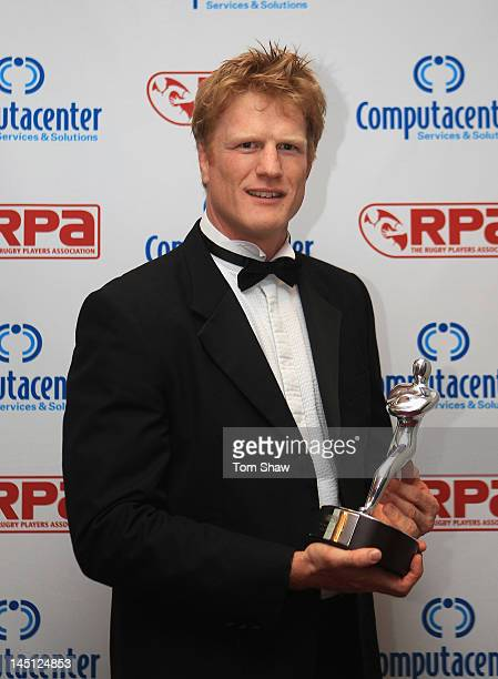 Hugh Vyvyan of Saracens poses with the TAG Heuer Special Merit Award during the RPA Computacenter Rugby Players Awards 2012 at the Grosvenor Hotel on...