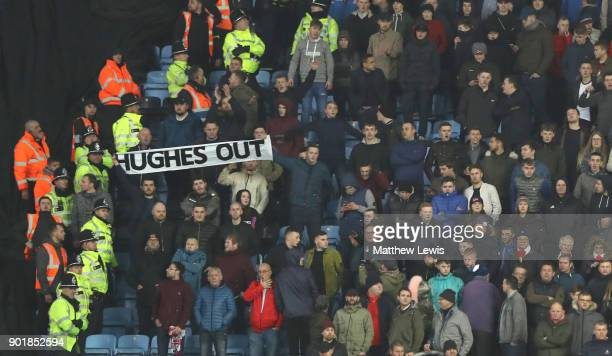A hughes out banner during the The Emirates FA Cup Third Round match between Coventry City and Stoke City at Ricoh Arena on January 6 2018 in...