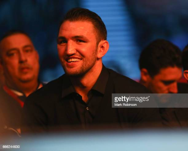 Hughie Fury at Ringside watching the Boxing at Manchester Arena on April 8 2017 in Manchester England