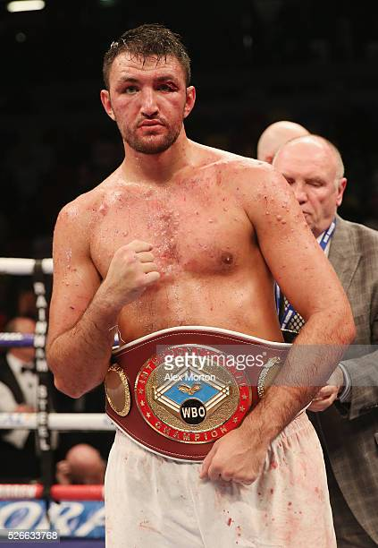 Hughie Fury celebrates victory over Fred Kassi after the vacant WBO Intercontinental Heavyweight Championship contest between Hughie Fury and Fred...