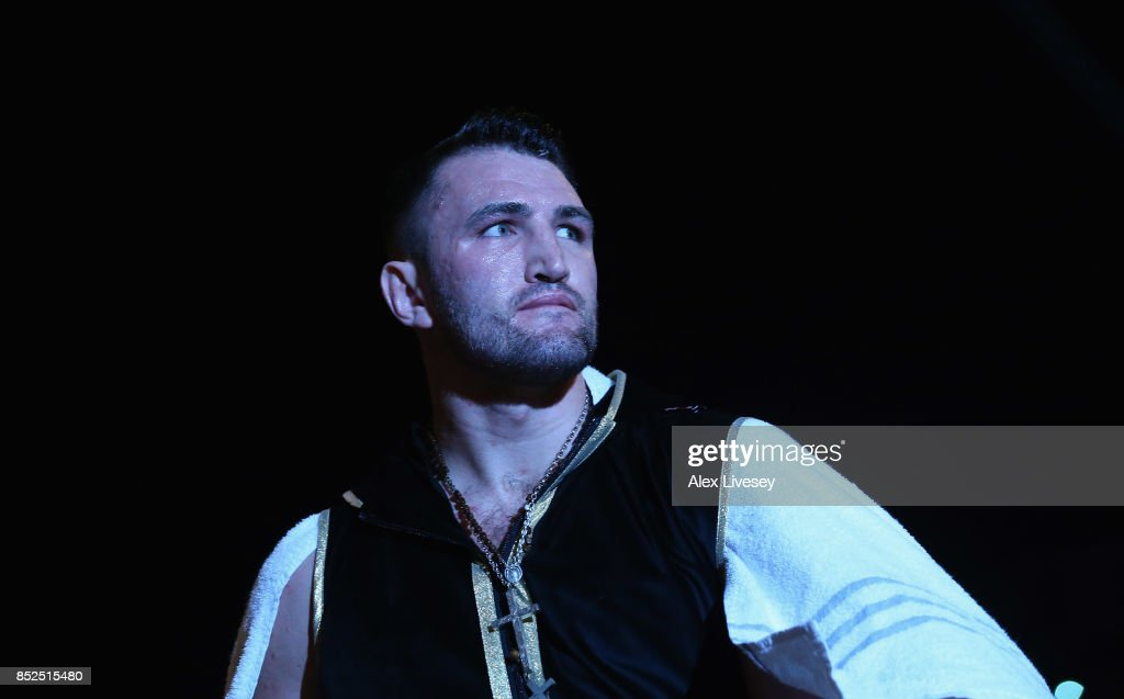 Hughie Fury enters the ring prior to the WBO World Heavyweight Title fight at Manchester Arena on September 23, 2017 in Manchester, England.