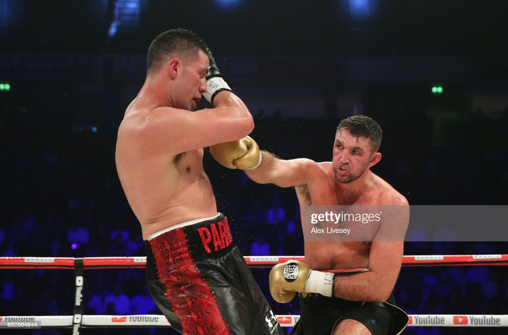 Hughie Fury lands a right shot on Joseph Parker during the WBO World Heavyweight Title fight at Manchester Arena on September 23, 2017 in Manchester, England.