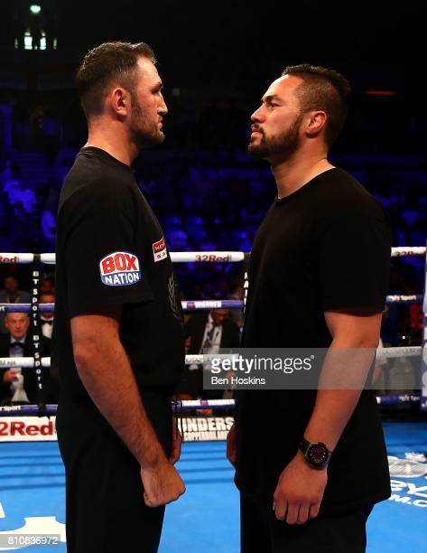 Hughie Fury of Great Britain and Joseph Parker of New Zealand face off in the rin at Copper Box Arena on July 8 2017 in London England