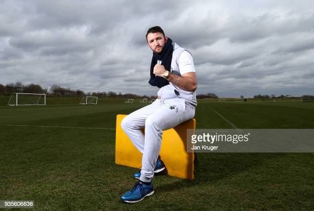 Hughie Fury poses after his media workout at Bolton Wanderers FC Academy on March 21 2018 in Bolton England