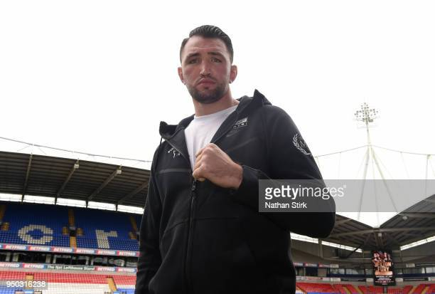 Hughie Fury poses for a photo during the Sam Sexton and Hughie Fury Press Conference at Macron Stadium on April 23 2018 in Bolton England