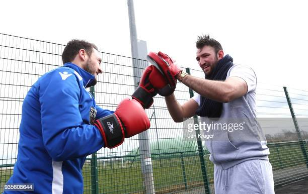Hughie Fury spars with William Buckley of Bolton during a media workout at Bolton Wanderers FC Academy on March 21 2018 in Bolton England