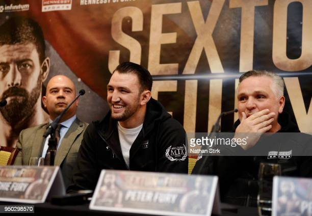 Hughie Fury speaks with the media during the Sam Sexton and Hughie Fury Press Conference at Macron Stadium on April 23 2018 in Bolton England