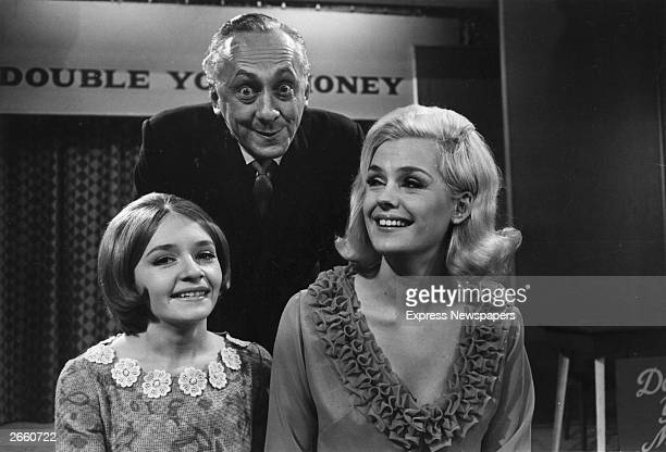 Hughie Green Monica Rose and Lesley Langley from the television show 'Double Your Money'