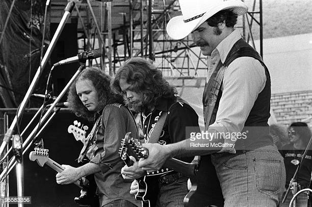 Hughie Tomasson Billy Jones and Henry Paul of The Outlaws perform live at The Oakland Coliseum in 1977 in Oakland California