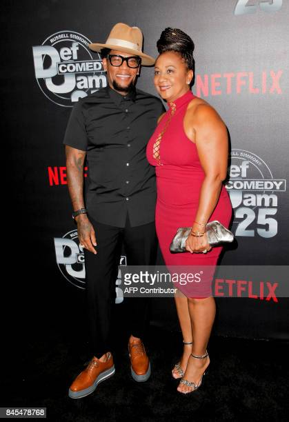 D L Hughley and LaDonna Hughley attend Netflix's Def Comedy Jam 25 special event at the Beverly Hilton Hotel in Beverly Hills California on September...