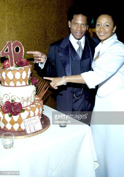 DL Hughley and wife LaDonna Hughley during DL Hughley 40th Birthday Bash at Bliss Resturant in Los Angeles California United States