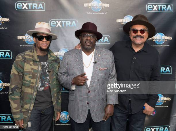 D L Hughley George Lopez and Cedric the Entertainer visit 'Extra' at Universal Studios Hollywood on October 10 2017 in Universal City California