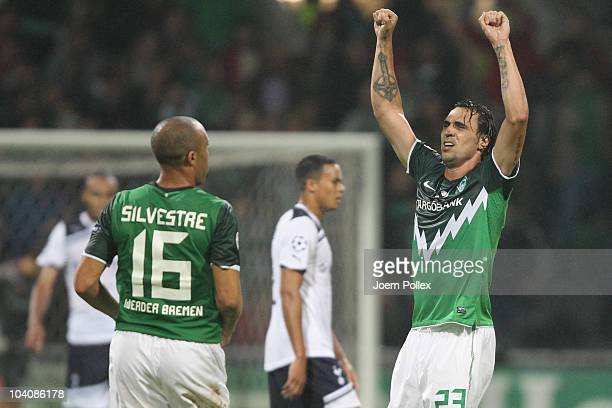 Hugo Almeida of Bremen celebrates after scoring his team's first goal during the UEFA Champions League group A match between SV Werder Bremen and...