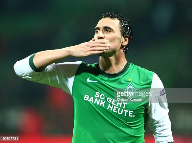 Hugo Almeida of Bremen celebrates after winning the UEFA Europa League Group L match between Werder Bremen and Austria Wien at the Weser stadium on...