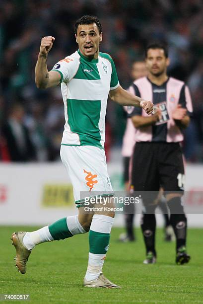 Hugo Almeida of Bremen celebrates his first goal during the UEFA Cup SemiFinal second Leg match between Werder Bremen and Espanyol at the Weser...