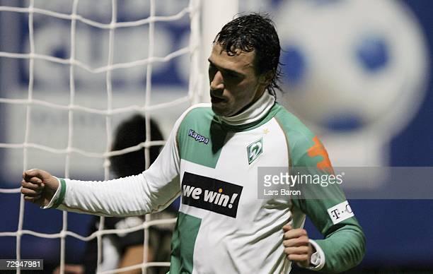 Hugo Almeida of Bremen celebrates scoring the first goal during the Efes Pilsen Cup match between Werder Bremen and Besiktas Istanbul at the Topkapi...