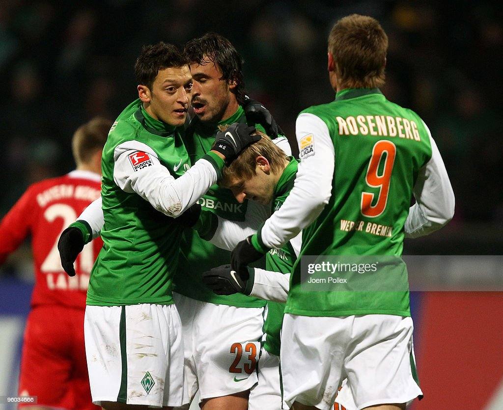 Hugo Almeida of Bremen celebrates with his team mates after scoring his team's second goal during the Bundesliga match between Werder Bremen and FC Bayern Muenchen at Weser Stadium on January 23, 2010 in Bremen, Germany.