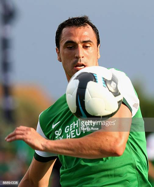 Hugo Almeida of Bremen stops the ball during the pre season friendly match between RotWeiss Essen and Werder Bremen at the Stadium Norderney on July...