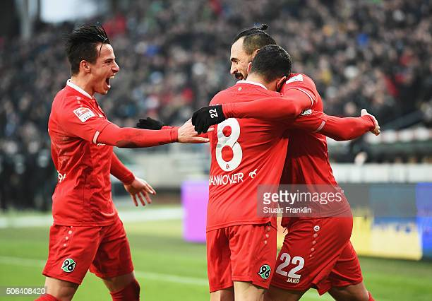 Hugo Almeida of Hannover celebrates scoring the first goal with Manuel Schmiedebach during the Bundesliga match between Hannover 96 and SV Darmstadt...