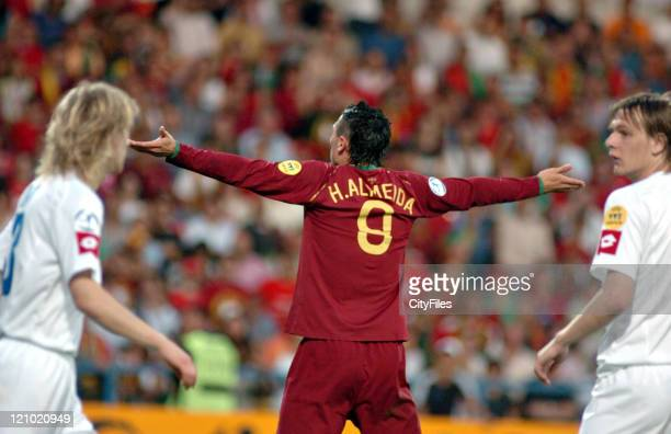 Hugo Almeida of Portugal during 2006 UEFA European Under 21 Championship Group A match between Portugal and Serbia and Montenegro in Barcelos...