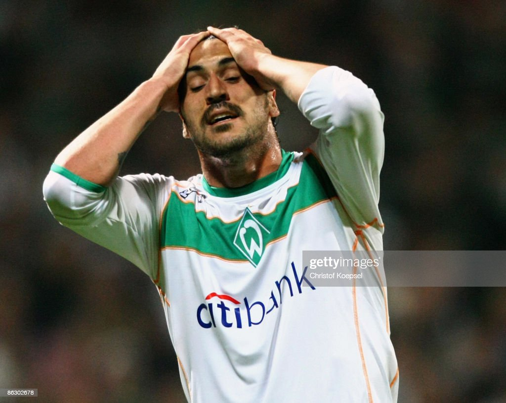 Hugo Almeida of Werder Bremen looks dejected during the UEFA Cup Semi Final first leg match between SV Werder Bremen and Hamburger SV at the Weser stadium on April 30, 2009 in Bremen, Germany.