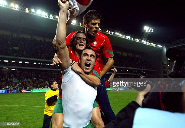 Hugo Almeida, Paulo Sergion and Miguel Angelo of Portugal after winning game against Switzerland at the 2005 UEFA European Under-21 Championship at...