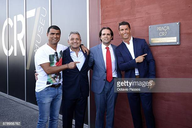 Hugo Aveiro Dionisio Pestana, Cristiano Ronaldo and Miguel Albuquerque during the opening of the new 'Pestana CR7 Funchal' Hotel owned by Cristiano...