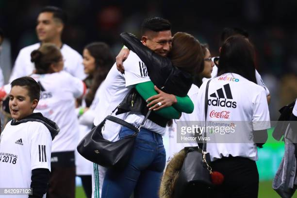 Hugo Ayala of Mexico celebrates with his family after winning the game during the match between Mexico and Panama as part of the FIFA 2018 World Cup...