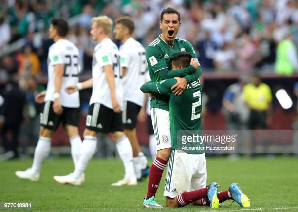 Hugo Ayala of Mexico celebrates with team mate Rafael Marquez following his sides victory in the 2018 FIFA World Cup Russia group F match between...
