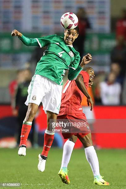 Hugo Ayala of Mexico heads the ball during the International Friendly Match between Mexico and Panama at Toyota Park on October 11 2016 in Chicago...